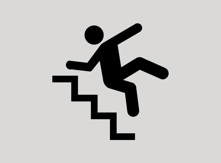 階段から落ちる人のイラスト